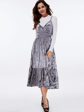Ericdress Spaghetti Strap Elastic Patchwork Pleated Casual Dress