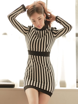 Ericdress Strip Stand Collar Patchwork Bodycon Dress