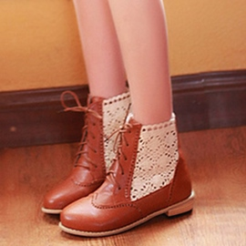 Ericdress Sweet Lace Patchwork Ankle Boots