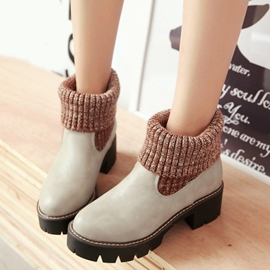 Ericdress Kintting Patchwork Round Toe Ankle Boots