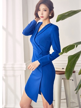 Ericdress Lapel Patchwork Split Sheath Dress