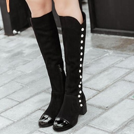 Ericdress Patchwork Rivets Knee High Boots