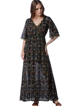 Ericdress Print Embroidery Hemming Wave Cut Maxi Dress