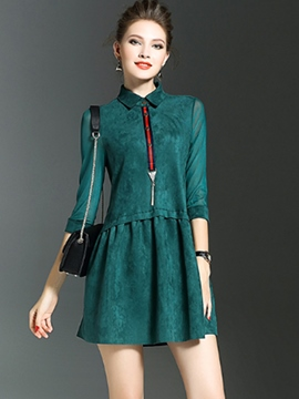 Ericdress Notched Lapel Patchwork Pleated Casual Dress