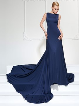 Ericdress Elastic Spandex A Line Bateau Neck Deep Back Long Evening Dress