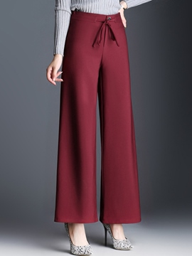 Ericdress Lace-Up High-Waist Full Length Pants