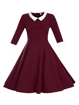 Ericdress European Color Block Lapel Pleated Casual Dress
