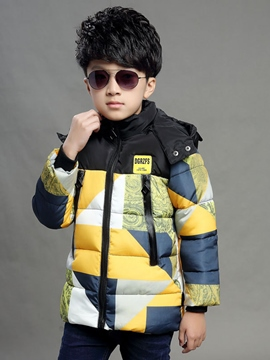 Ericdress Color Block Hooded Boys Down Coat