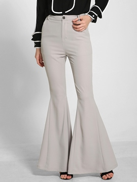 Ericdress Solid Color High-Rise Flared Pants
