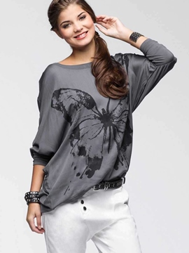 Ericdress Batwing Sleeve Butterfly Printed T-Shirt