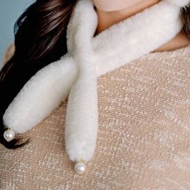 Ericdress Pearl Embellished Furry Small Scarf