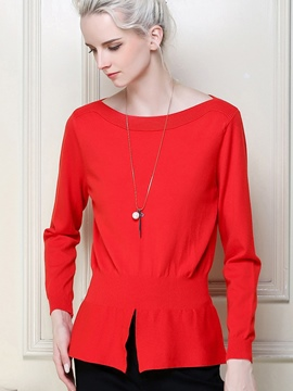 Ericdress Red Cut Front Knitwear