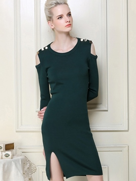 Ericdress Off-The-Shoulder Rivet Split Sheath Dress