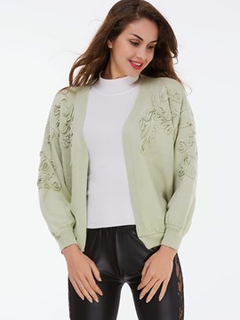 Ericdress Light Green Floral Crochet Cardigan Knitwear