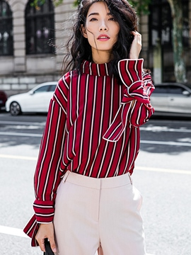 Ericdress Red Vertical Stripe Blouse
