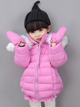 Ericdress Solid Color Hooded Girls' Puffer Coat