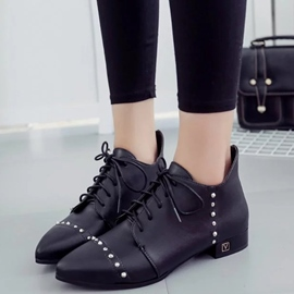 Ericdress PU Rivets Point Toe Ankle Boots