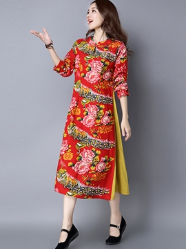 Ericdress Ethnic Split Floral Print Casual Dress