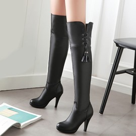 Ericdress PU Tassels Platform Knee High Boots