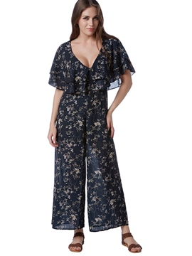 Ericdress Ruffles Floral Print Loose Jumpsuits Pants