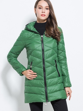 Ericdress Straight Color Block Zipper Casual Cotton Coat