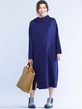 Ericdress Turtleneck Large Pocket Loose Casual Dress