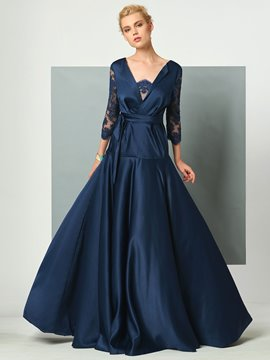 Ericdress 3/4 Lace Sleeve Deep Back Floor Length Long Evening Dress