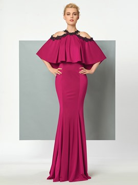 Ericdress Stunning Halter Cape Sleeve Floor Length Mermaid Evening Dress