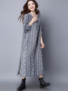 Ericdress Loose Hooded Print Split Maxi Dress