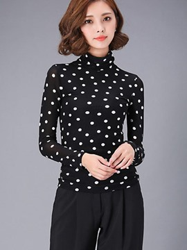 Ericdress Polka Dots Turtle Neck T-Shirt