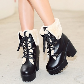 Ericdress PU Platform Lace up High Heel Boots