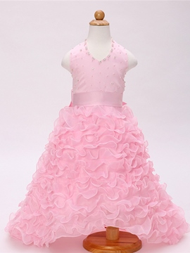 Ericdress Bead Backless Layered Girl Princess Dress