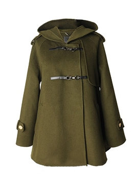 Ericdress Loose Army Green Belt Hooded Coat