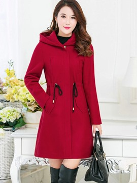 Ericdress Lace-Up Hooded Coat