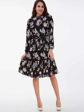 Ericdress Cowl-Neck Print Falbala Patchwork Casual Dress