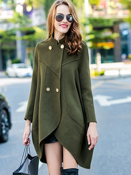 Ericdress Double-Breasted Solid Color Loose Coat