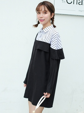 Ericdress Asymmetric Patchwork Falbala Strip Casual Dress