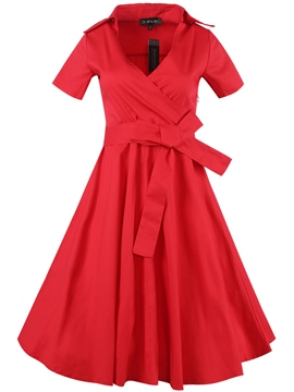 Ericdress Lapel Lace-Up Pleated Patchwork Round Collar Casual Dress