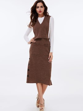 Ericdress Color Block Knitted Three-Piece Leisure Suit