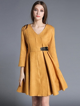 Ericdress V-Neck Stylelines Belt Patchwork Pleated Casual Dress