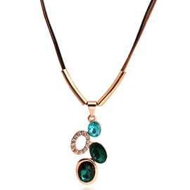 Ericdress Colorful Oval Crystal Pendant Necklace