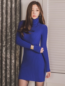 Ericdress Turtleneck Tight Above Knee Sweater Dress