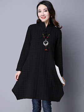 Ericdress Stand Collar Button Asymmetric Loose Casual Dress