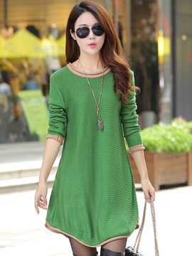 Ericdress Round Collar Knitting Asymmetric Casual Dress