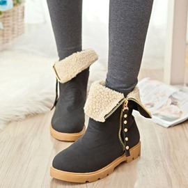 Ericdress Chic Suede Side Zipper Ankle Boots