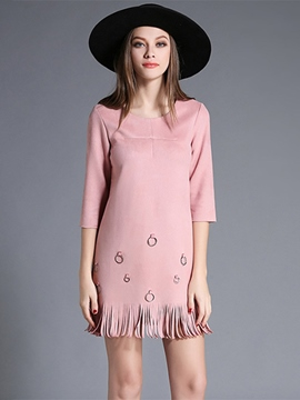 Ericdress Tassel Metal Circle Patchwork Casual Dress
