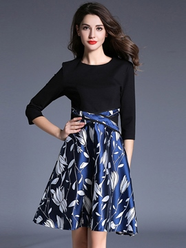 Ericdress Print Patchwork Pleated Three-Quarter Sleeve Casual Dress