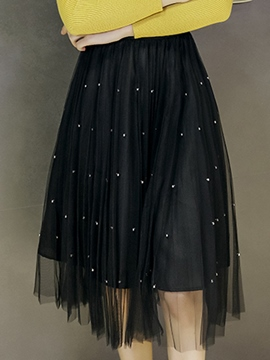 Ericdress Pleated Mesh See-Through Ball Bown Usual Skirt