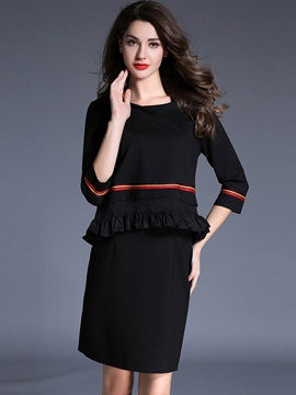Ericdress Strip Patchwork Pleated Three-Quarter Sleeve Casual Dress