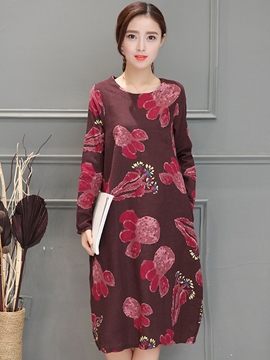 Ericdress Round Collar Print Knee-Length Casual Dress